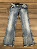 REROCK FOR EXPRESS Women's Boot Distressed Cotton Blend Blue Jeans-Size 4S