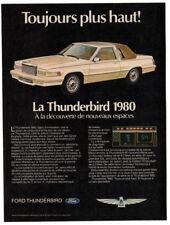 1980 FORD Thunderbird Vintage Original Print AD - White car French Canadian