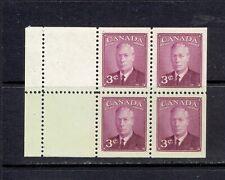 CANADA - 1950 THREE CENT KING GEORGE VI - BOOKLET PANE - SCOTT 286b - MNH