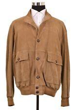 Paul & Shark Sand Suede Leather Button Front Bomber Blouson Jacket Coat XL