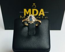 9CT YELLOW GOLD DIAMOND & SAPPHIRE CLUSTER