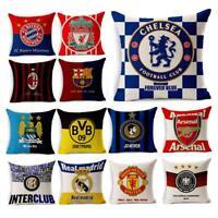 "18""Throw Pillow Case Cushion Cover Sofa Home Decor Cotton Linen Team Soccer Club"