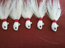 1/2 oz Saltwater Bucktail Jig White Fluke, Stripers, Cobia, Grouper, trout 5pk