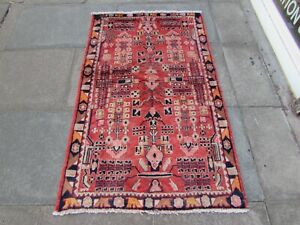 Vintage Hand Made Traditional Oriental Wool Faded Red Small Rug 165x102cm