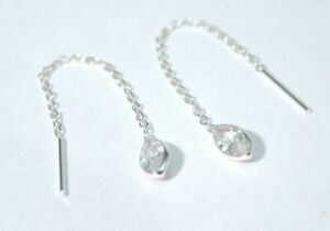 Sterling Silver Threader Earrings Clear CZ Marquise cut Dainty