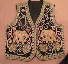 vintage hand embroidered India ceremonial needlepoint ornate elephant vest art