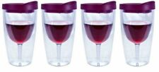 Wine Tumbler Insulated Double Wall Acrylic Glass Travel 16 Oz Picnic Pack of 4