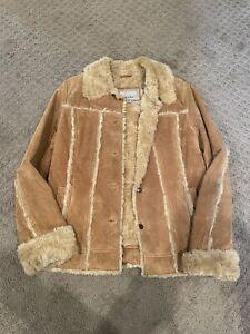 Wilsons Suede Leather Womens Jacket Coat Size Medium Fur