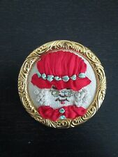 HANDMADE SILK RIBBON EMBROIDERY MRS. CLAUS PIN - NEW
