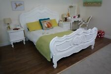 French Charroux Double Bed In White - Shabby Chic Style Double Bed