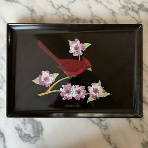 """Vintage 15 3/8"""" x 10 3/4"""" Couroc of Monterey Lacquer Tray Inlaid ROBIN Design"""