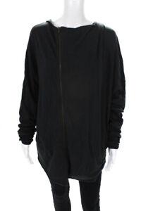 Helmut Lang Womens Full Zip Jersey Hooded Jacket Black Size Medium
