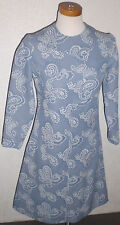 VINTAGE 1965-76 SEARS FASHION SHIFT MOD DRESS BLUE PAISLEY POLYESTER
