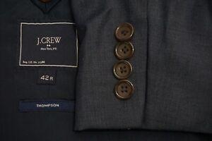 J.Crew Thompson Blue 100% Wool 2 Pc Suit Jacket Pants Slim 42R BRAND NEW wo tag