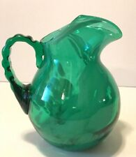 """Vintage Hand Blown Green With White Swirl Glass Pitcher 6"""" Tall"""