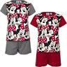 Neu Pyjama Set Kurz Schlafanzug Mädchen Minnie Mouse grau rot 98 104 116 128#121