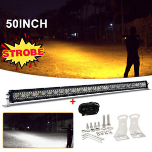 50Inch 3-Row Amber White LED Light Bar Driving Off-road For SUV Truck Strobe 52