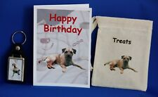Border Terrier Gift Set with Birthday Card Canvas Treat Bag and Key Ring