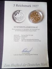 """5 Reichsmark 1927 """" Hundert Jahre Bremerhaven"""" Echtheits-Zertifikat"""