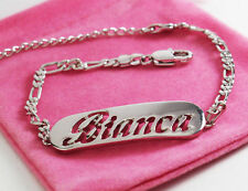 BIANCA Bracelet 18k White Gold Plated Name Jewellery Fashion Gifts Silver tone
