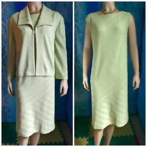 ST. JOHN Collection Knits Green Jacket & Dress XL 14 16 2pc Suit Set Collared