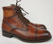 Magnanni Peyton Cognac Brown Cuero Leather Cap Toe Men's Boots Size 8.5 M