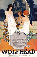 Wolfhead Undergarments DAINTY LINGERIE Dressing Room Scene 1920 MAGAZINE AD