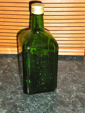 "Collectible Vintage P.BOKMA Green Bottle:  9 ½""Tall   3 3/4"" square"