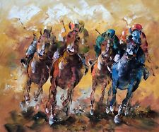 Canvas Wall Art Modern Decor Oil Painting Hand Painted,Horses Racing,51 X 61 cm