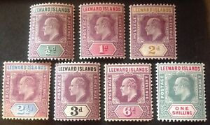Leeward Islands 1902-07 7 x stamps to 1 Shilling mint hinged