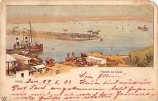 B107654 Egypt Suez L'Entree du Canal Boats Bateaux litho