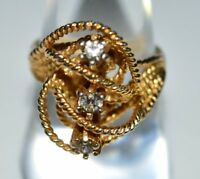 VTG ESPO Signed 12kt Gold G.E. Electroplate Clear CZ Ring Size 8