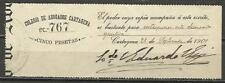 476A- GRAN SELLO FISCAL COLEGIO ABOGADOS CARTAGENA  MURCIA 5 PESETAS AÑO 1907.