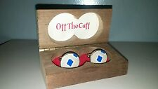 Cufflinks Blue,White and Tan Off The Cuff Brand By Manleigh 1960's