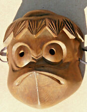 Vintage Japanese hand carving Wood Oni  Mask  Signed