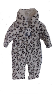 `Baby Soft Leopard Hooded Snowsuit with Ears 3-12m