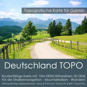 Deutschland Topo Karte Garmin 10m Höhenlinien DEM - 8 GB microSD Navi, PC & MAC