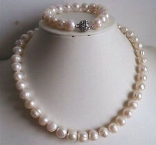"9-10mm White freshwater Cultured Pearl Necklace Bracelet Set 18""/7.5""  FF021"