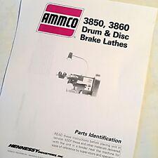 Ammco Parts Identification Manual 3850 3860 Drum Amp Disc Brake Lathes