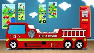 Children Red Fire Truck Engine Bed + Luxury Mattress 80 x 160 cm UK Made