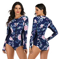Women's Rashguard One Piece Long Sleeve UV Protection Surfing Swimsuit Swimwear