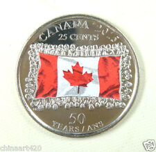 Canada 25 Cents Coin 2015, Colored, UNC, 50 Anniversary of the National Flag