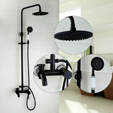 Black Oil Rubbed Bronze Bathroom Shower Faucet Set Mixer Value Single Handle