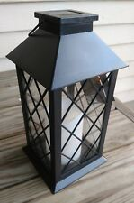 Outdoor Solar Lantern Hanging LED Light Garden Yard Patio Candle NEW Black