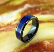 Black Ceramic Ring with Blue Carbon Fiber Inlay 8MM,Wedding Band,Comfort Fit