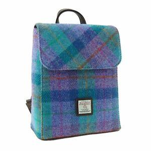 Harris Tweed 'Tummel' Mini Backpack in Green & Purple Check_LB1213-COL79