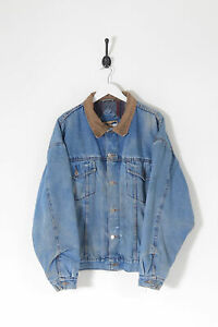 Vintage WRANGLER Distressed Lined Denim Jacket Mid Blue (XL)