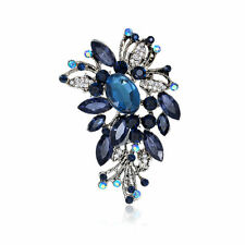 Large royalblue flower crystal rhinestone women jewelry party pageant brooch pin