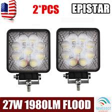 2X 27W LED Work Light Bar Flood Square 4WD Offroad ATV Jeep 12V 24V Lamp 5D Lens