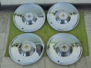 """NICE 56 57 Lincoln Premiere HUB CAPS 15"""" Set of 4 Wheel Covers Hubcaps 1956 1957"""